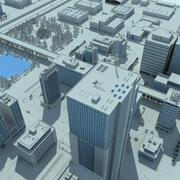 City Grey Cityscape 3d model