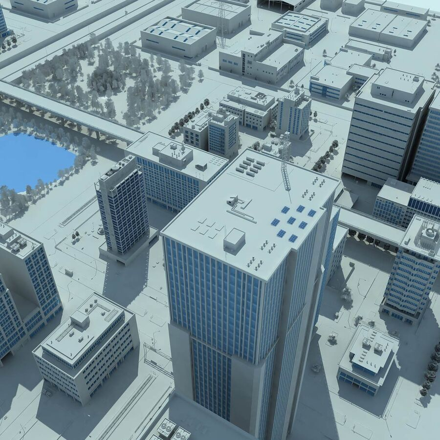 City Grey Cityscape royalty-free 3d model - Preview no. 1