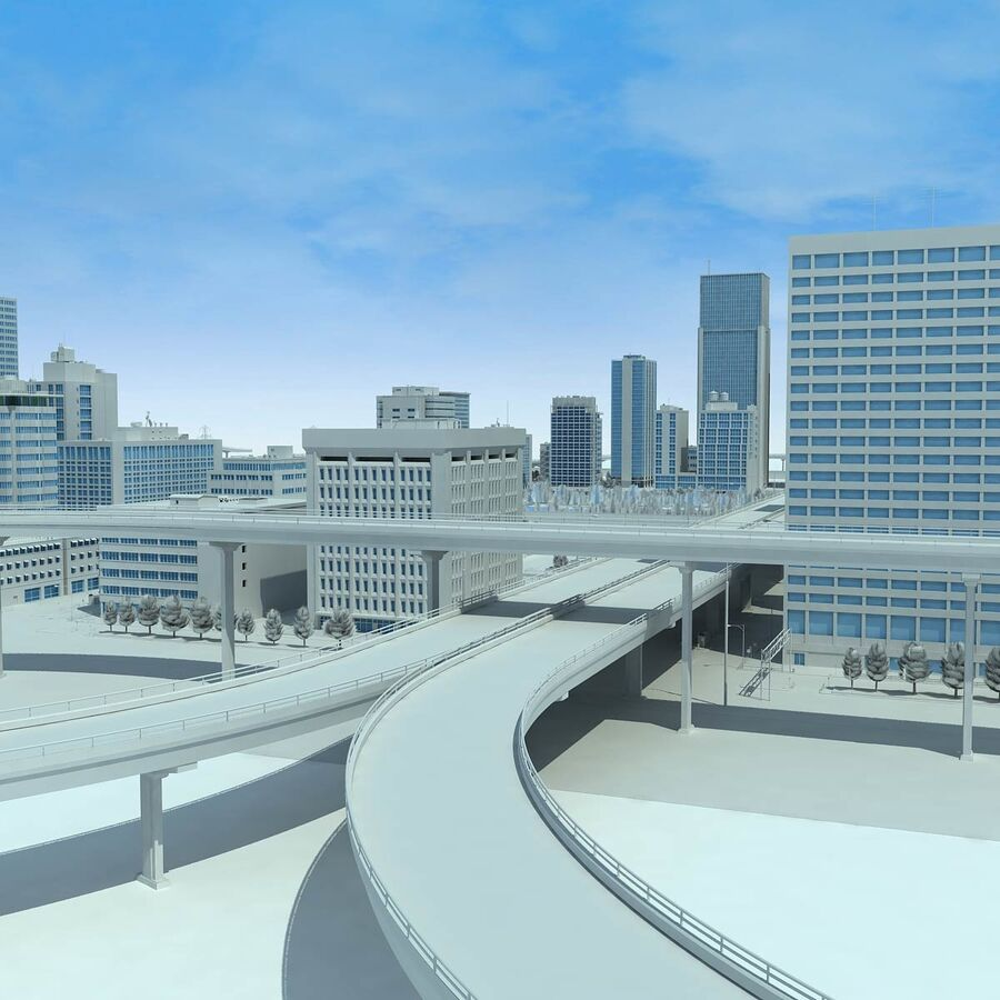 City Grey Cityscape royalty-free 3d model - Preview no. 9