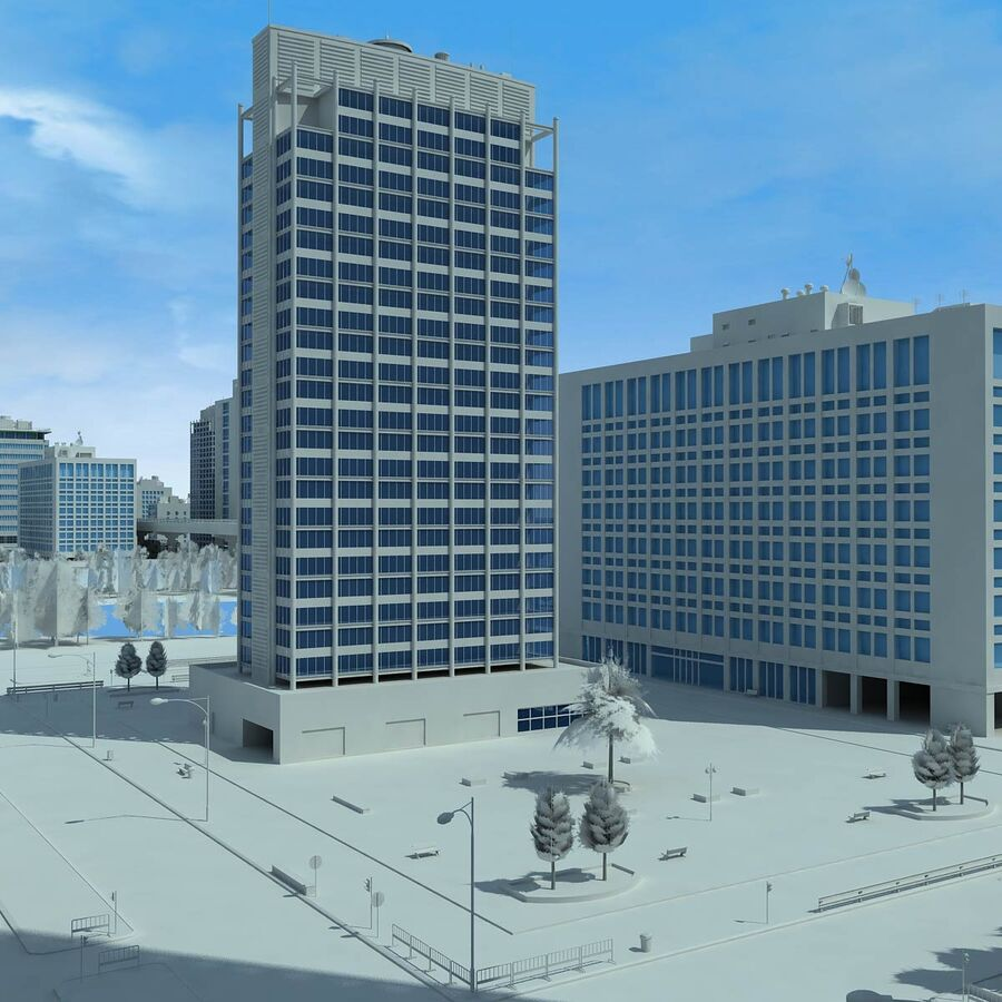 City Grey Cityscape royalty-free 3d model - Preview no. 19