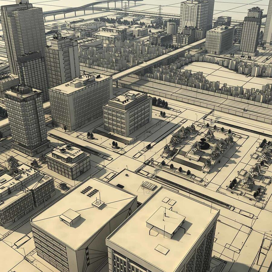City Grey Cityscape royalty-free 3d model - Preview no. 23
