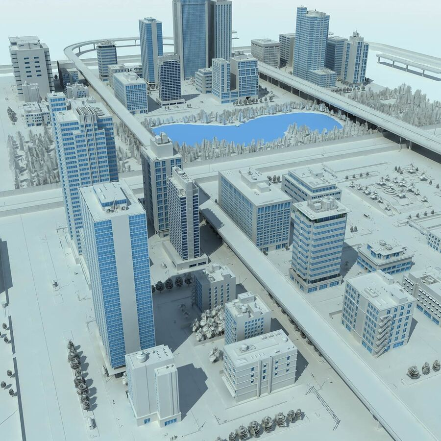 City Grey Cityscape royalty-free 3d model - Preview no. 2