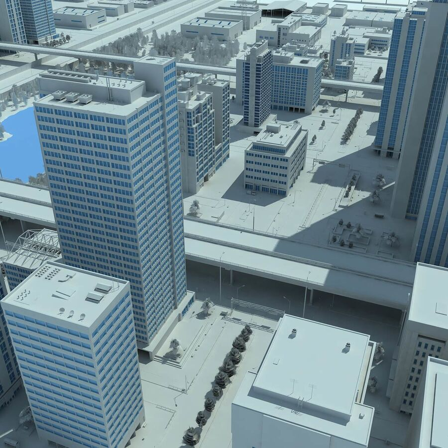 City Grey Cityscape royalty-free 3d model - Preview no. 4