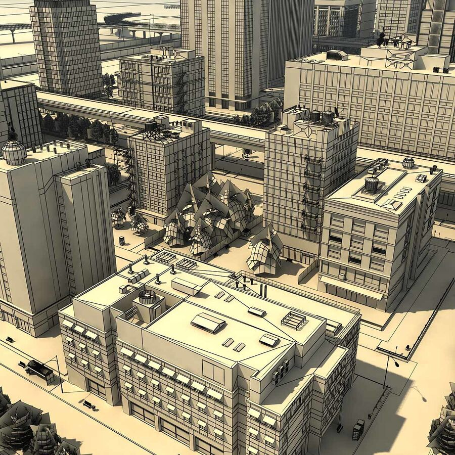 City Grey Cityscape royalty-free 3d model - Preview no. 25