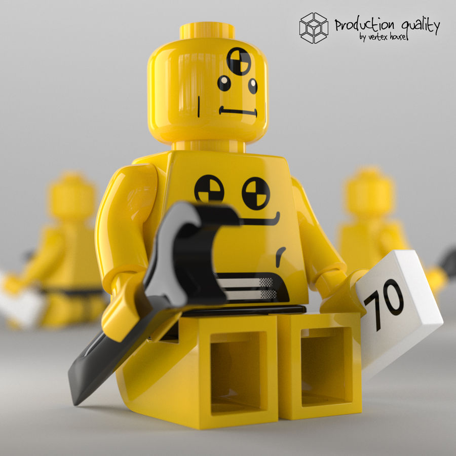 Lego Demolition Man Figure royalty-free 3d model - Preview no. 3