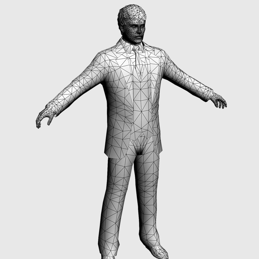 Man in a suit royalty-free 3d model - Preview no. 3