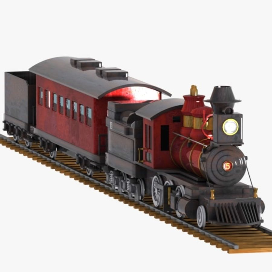 Cartoon Train royalty-free 3d model - Preview no. 6