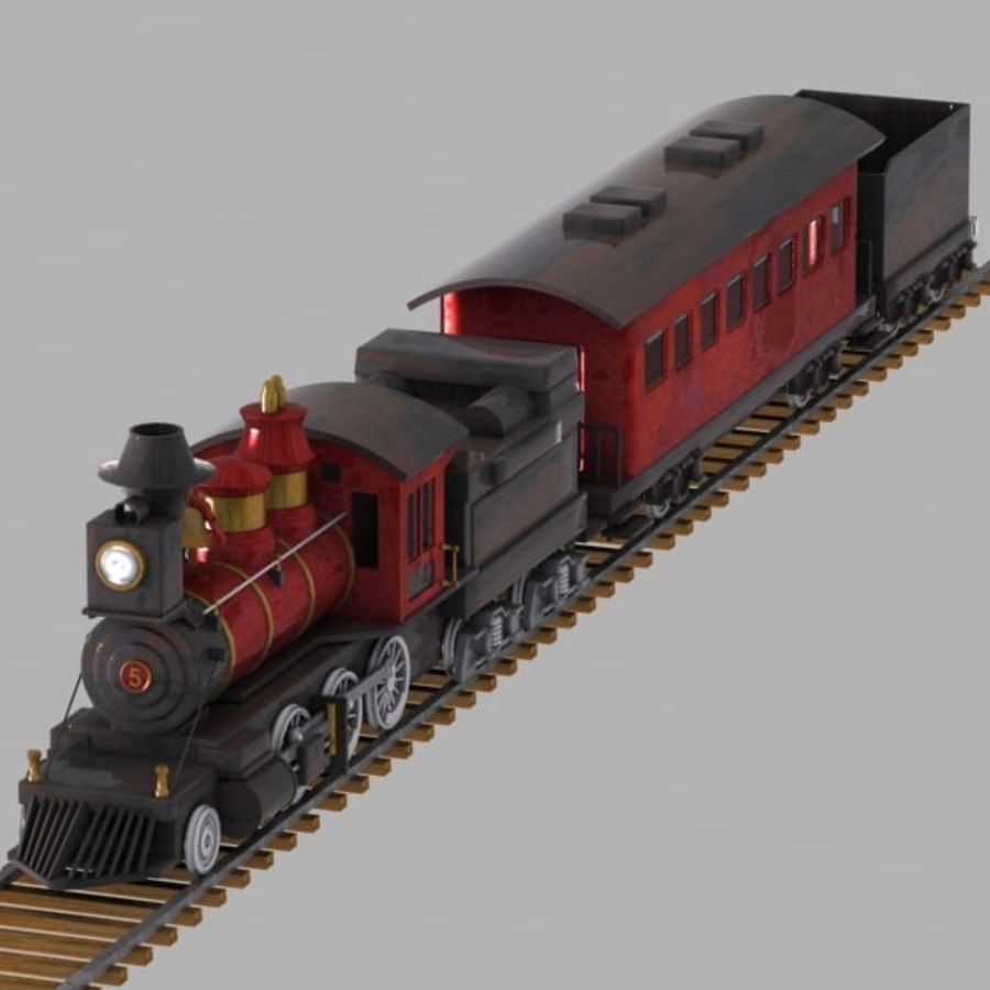 Cartoon Train royalty-free 3d model - Preview no. 2