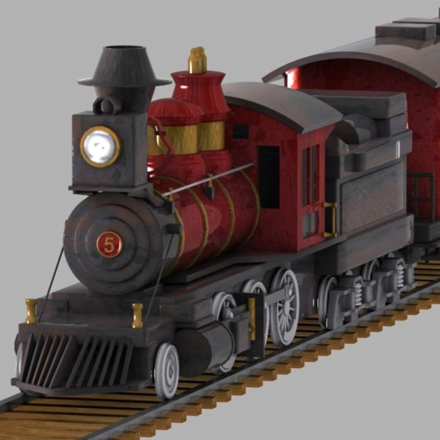 Cartoon Train royalty-free 3d model - Preview no. 4