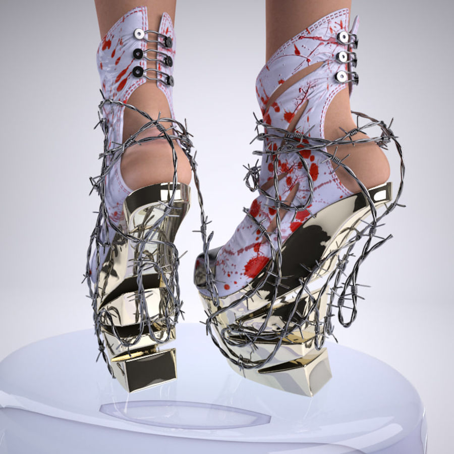 Pain Heelless shoe royalty-free 3d model - Preview no. 3