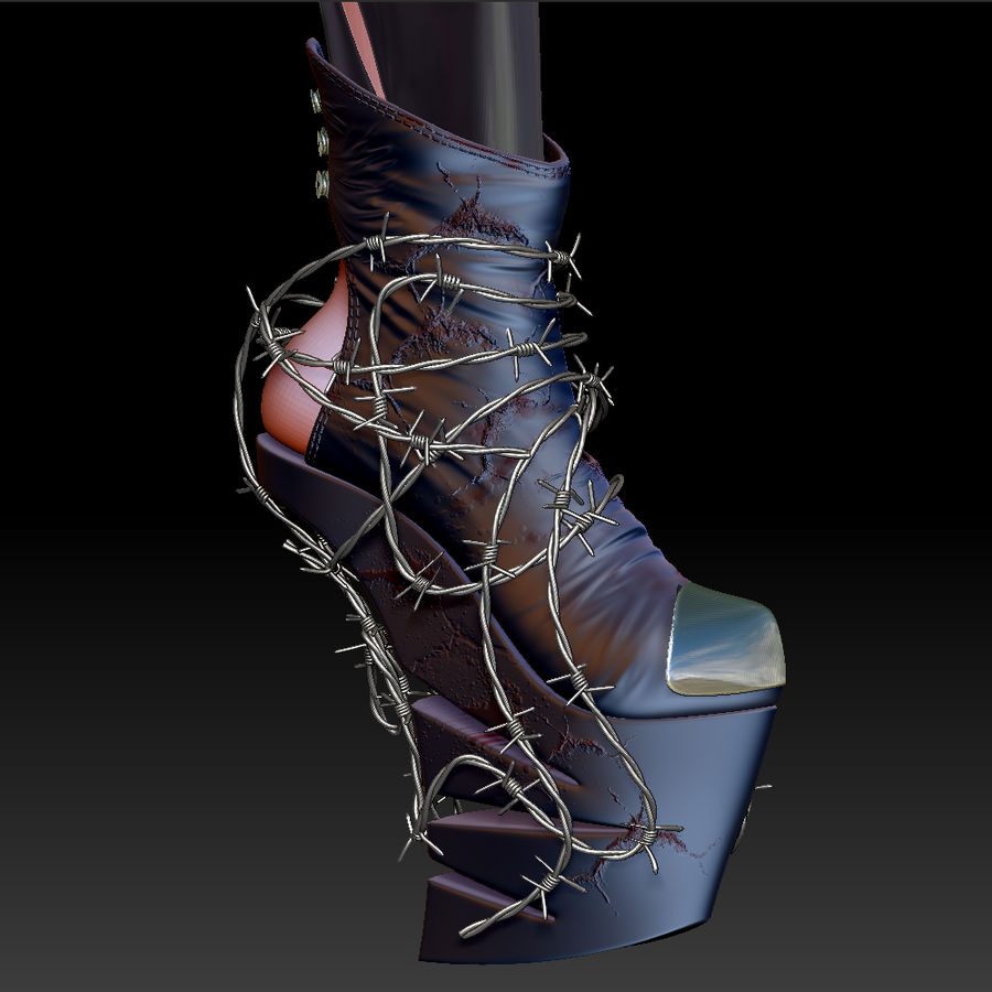 Pain Heelless shoe royalty-free 3d model - Preview no. 4