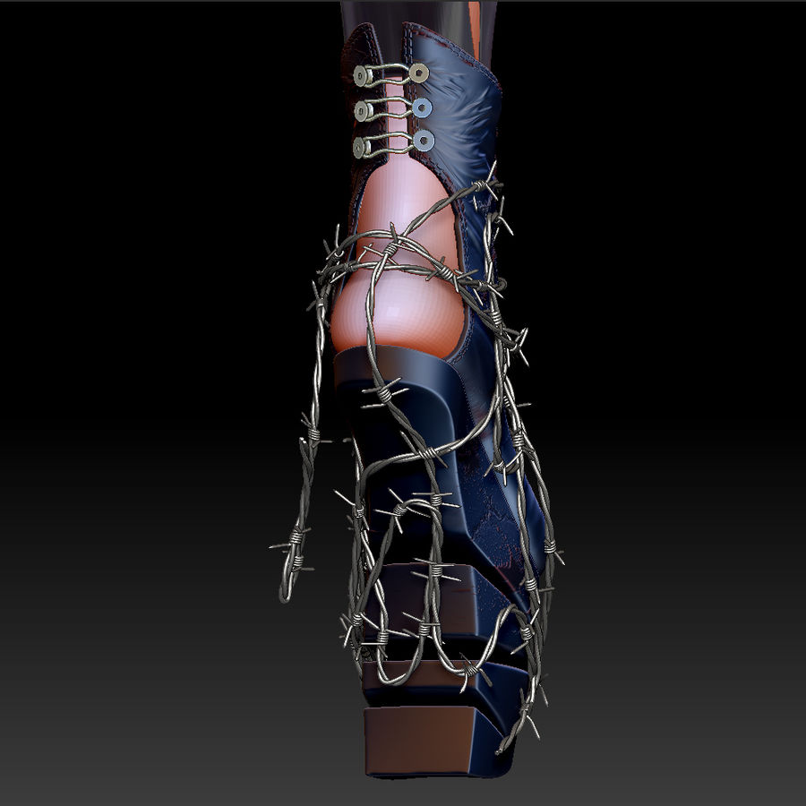 Pain Heelless shoe royalty-free 3d model - Preview no. 9