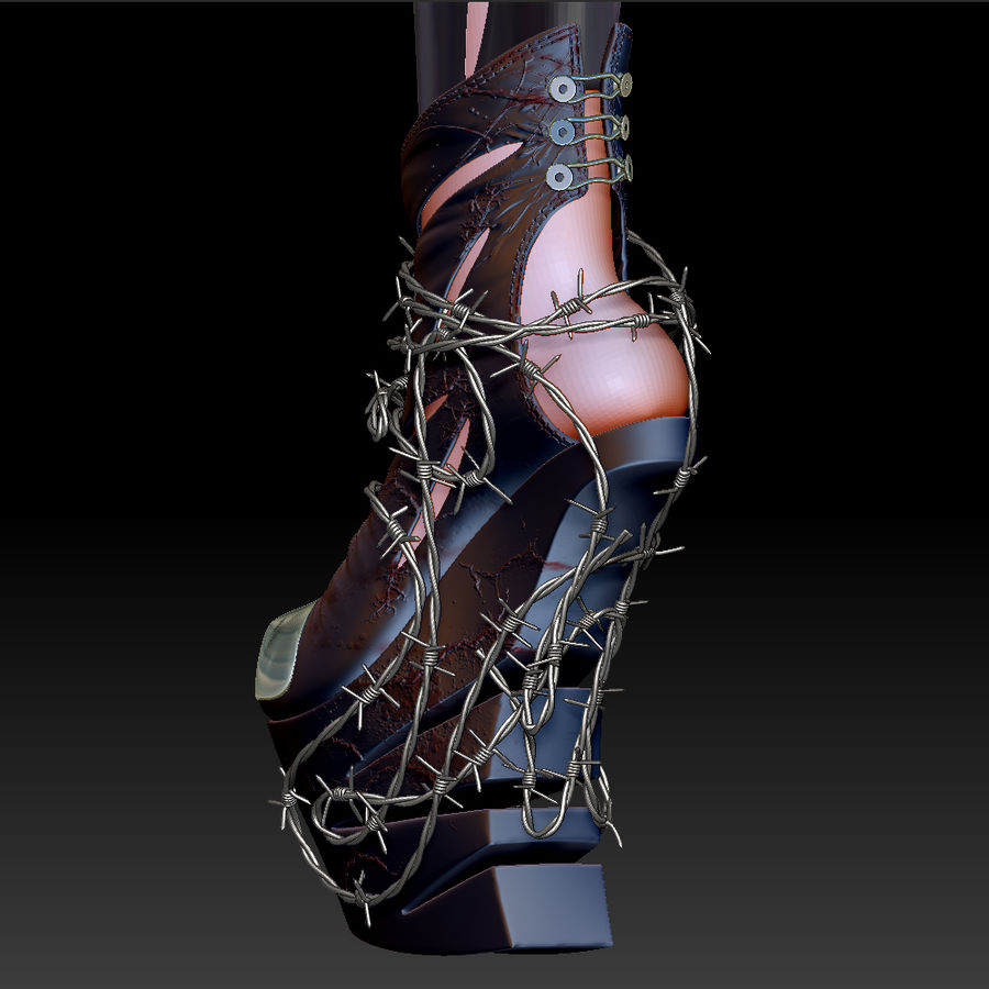 Pain Heelless shoe royalty-free 3d model - Preview no. 13