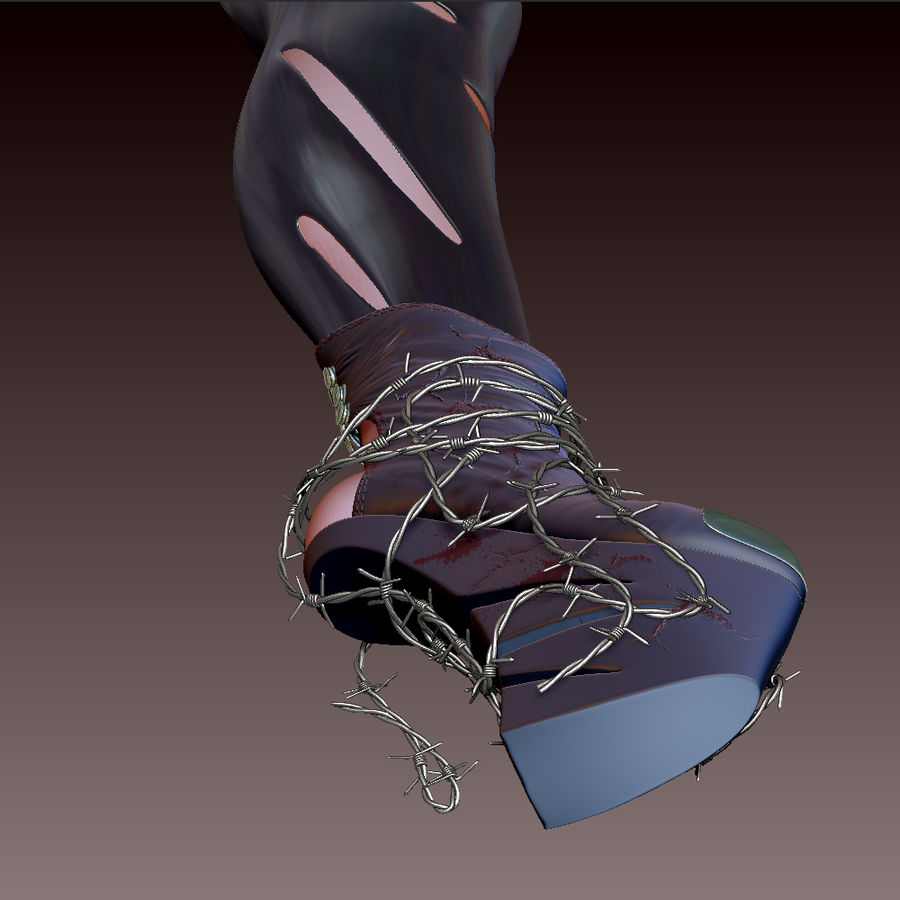 Pain Heelless shoe royalty-free 3d model - Preview no. 6