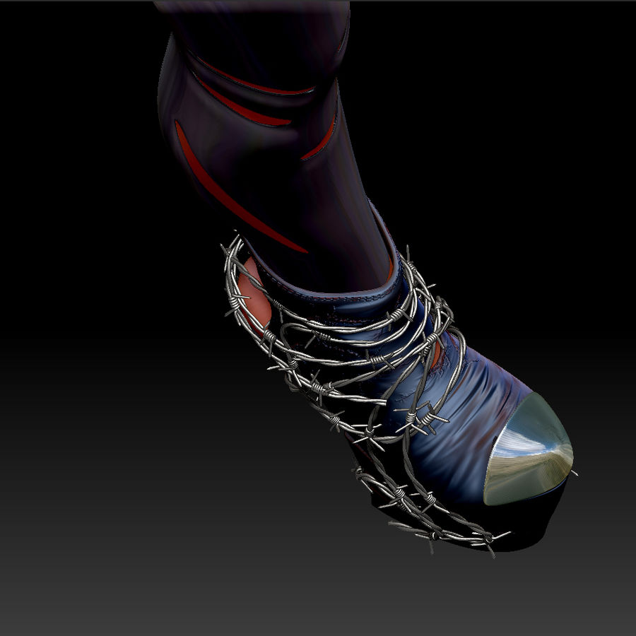 Pain Heelless shoe royalty-free 3d model - Preview no. 2