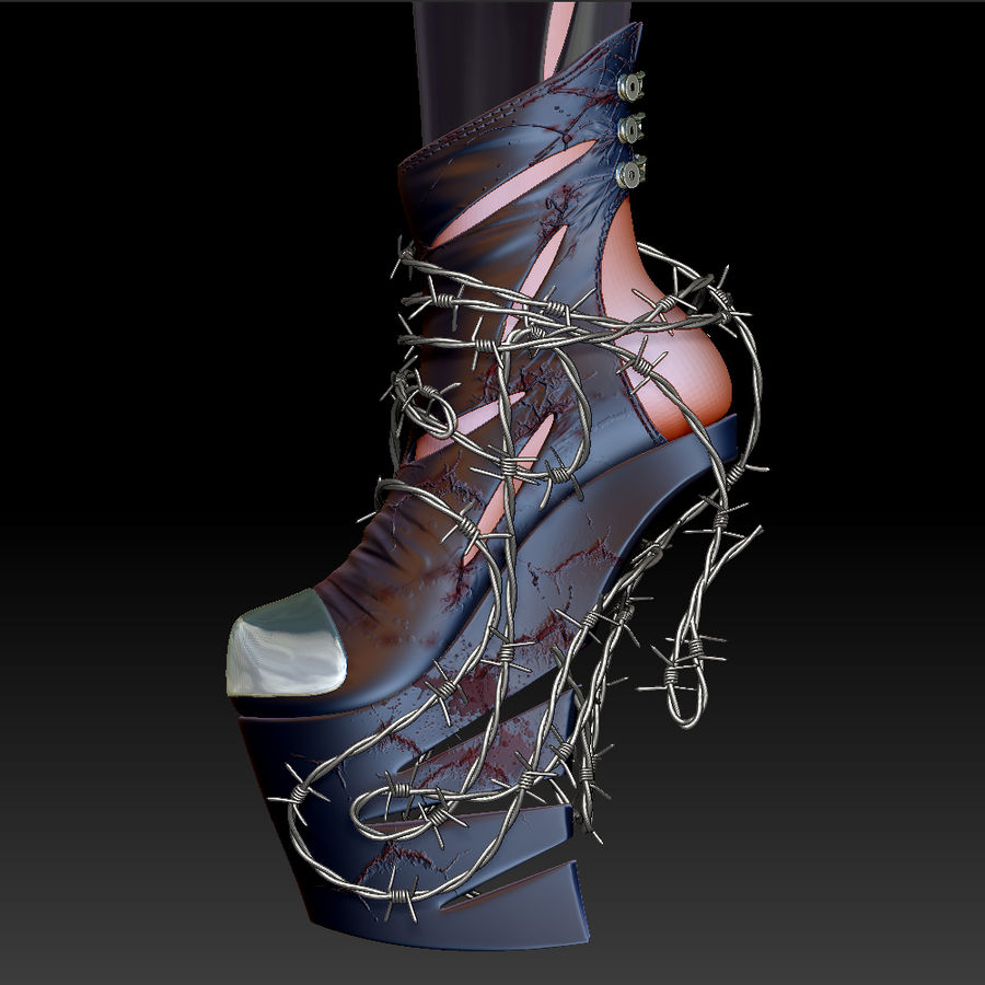 Pain Heelless shoe royalty-free 3d model - Preview no. 8