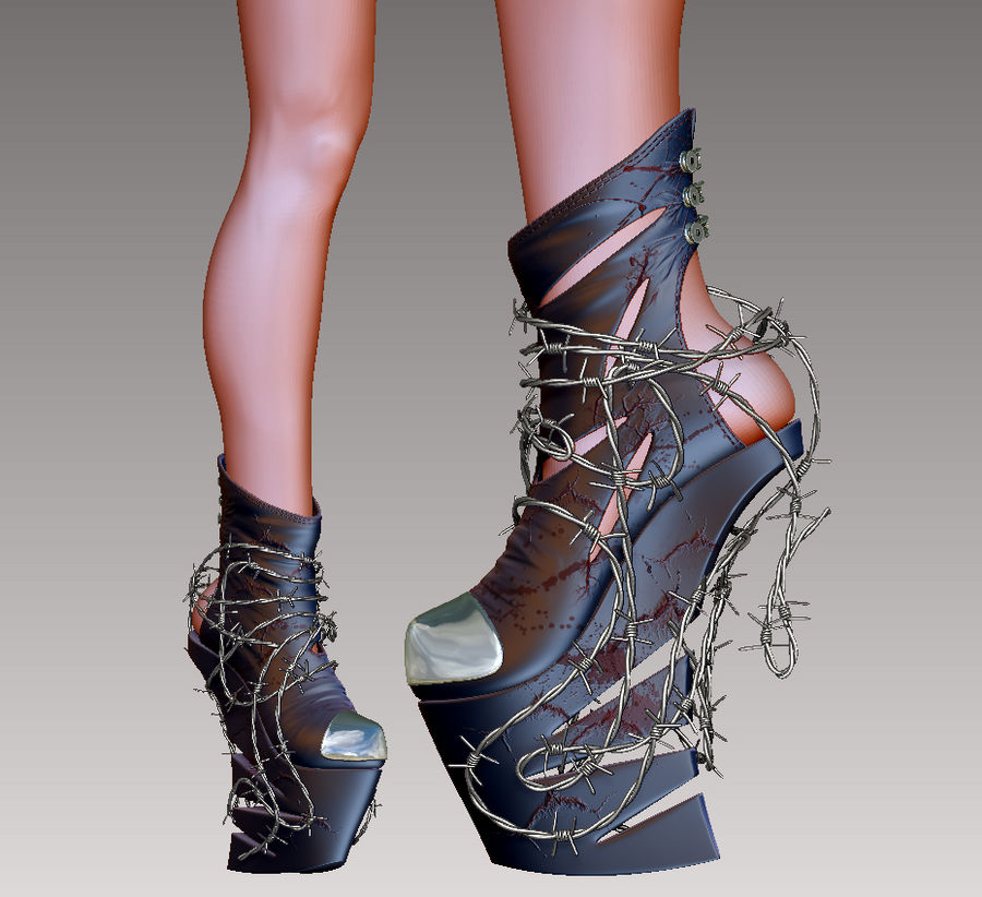 Pain Heelless shoe royalty-free 3d model - Preview no. 5