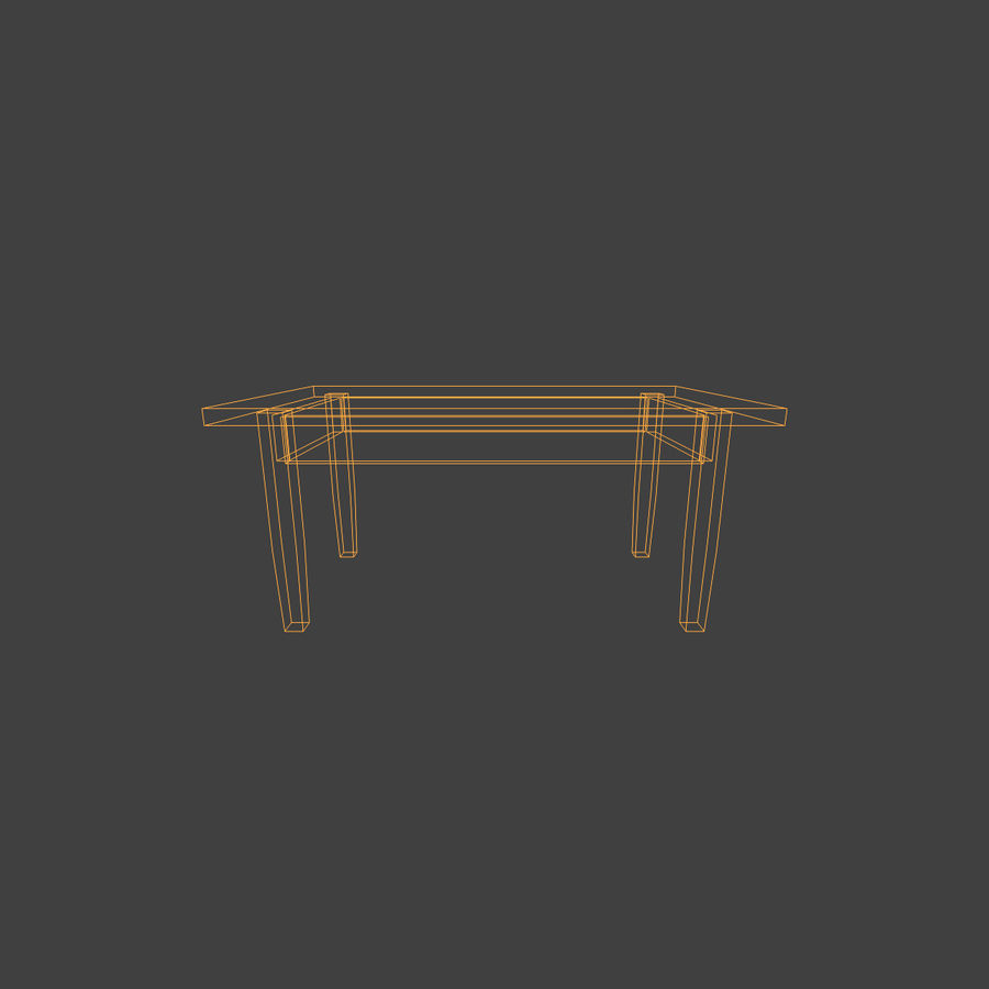 Wooden Table Low Poly royalty-free 3d model - Preview no. 7