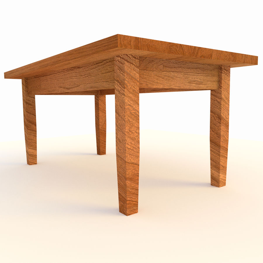 Wooden Table Low Poly royalty-free 3d model - Preview no. 2