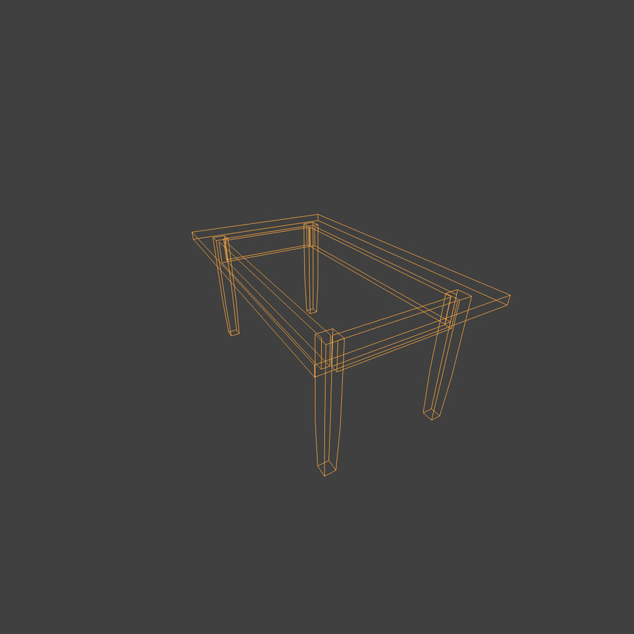 Wooden Table Low Poly royalty-free 3d model - Preview no. 10