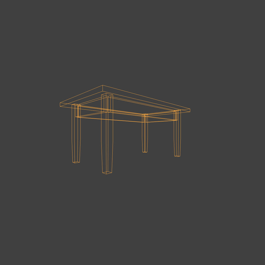 Wooden Table Low Poly royalty-free 3d model - Preview no. 9