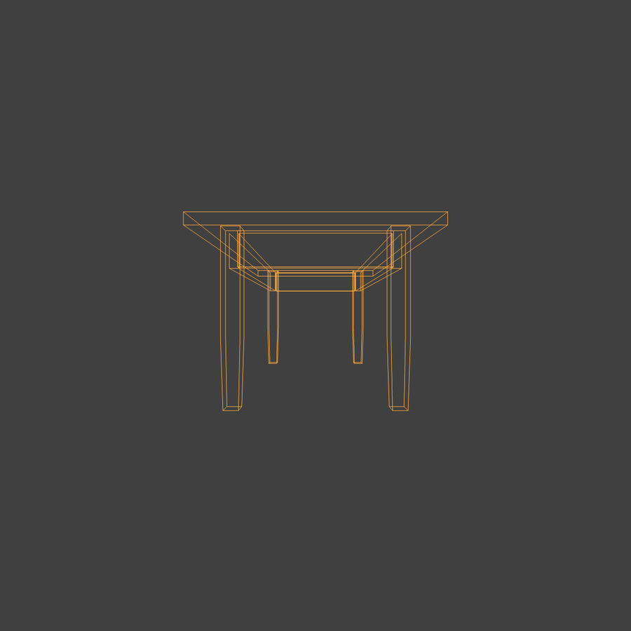 Wooden Table Low Poly royalty-free 3d model - Preview no. 8