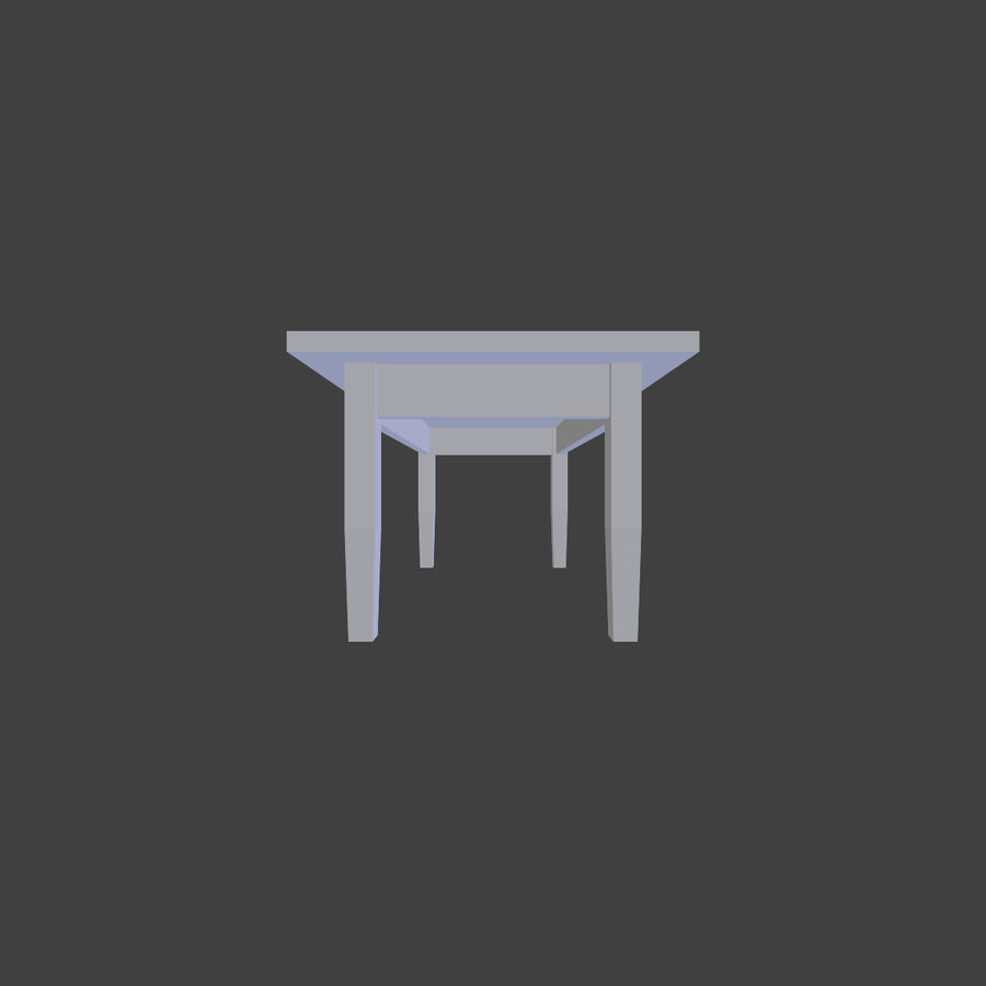 Wooden Table Low Poly royalty-free 3d model - Preview no. 6