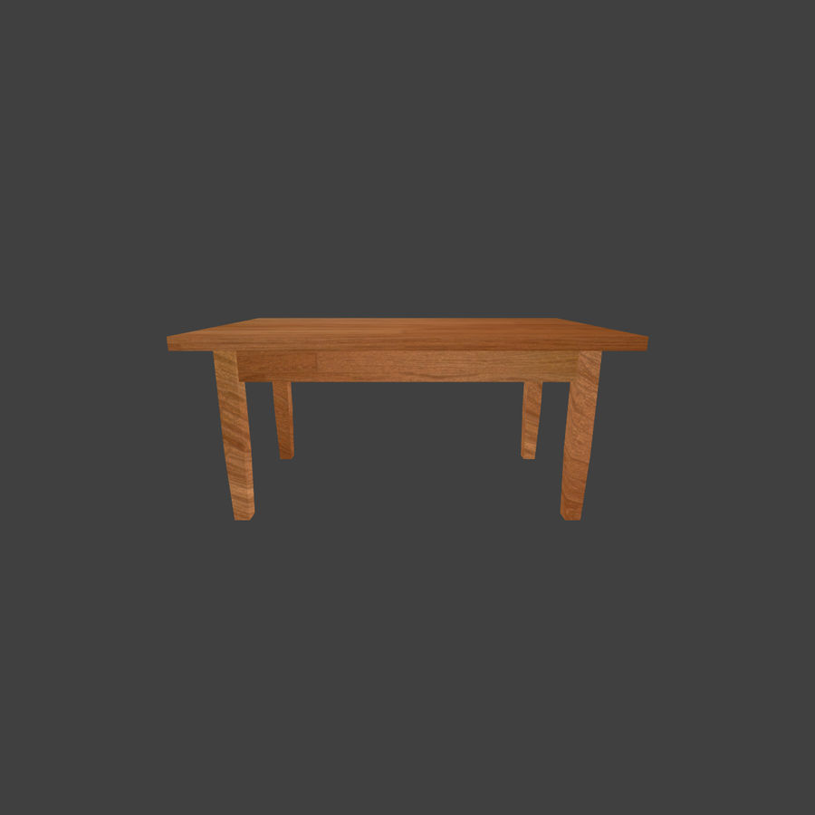 Wooden Table Low Poly royalty-free 3d model - Preview no. 5