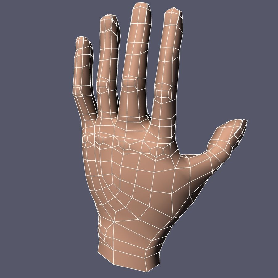 Hand Base UV Unwrapped royalty-free 3d model - Preview no. 7