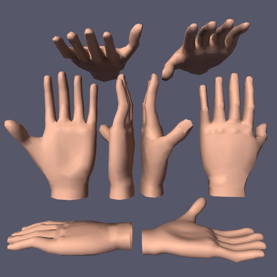 Hand Base UV Unwrapped royalty-free 3d model - Preview no. 5