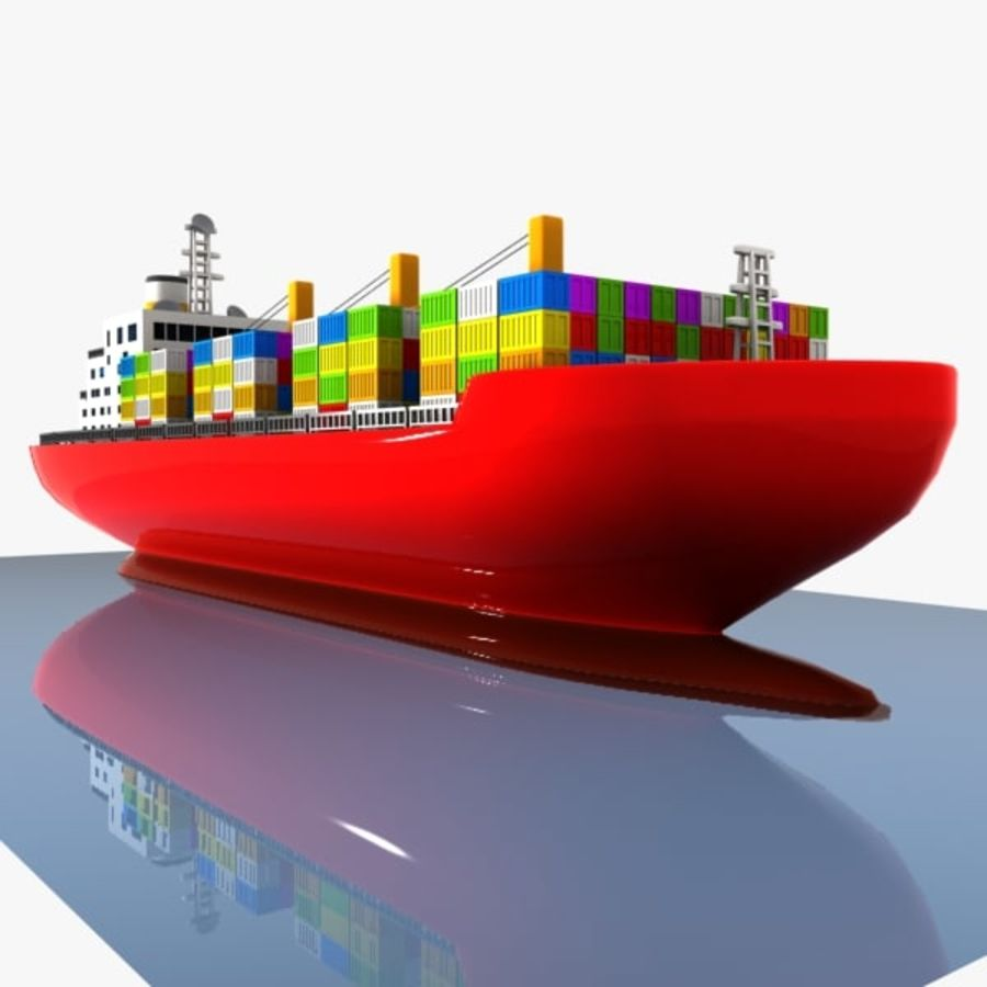 Cartoon Cargo Ship royalty-free 3d model - Preview no. 4