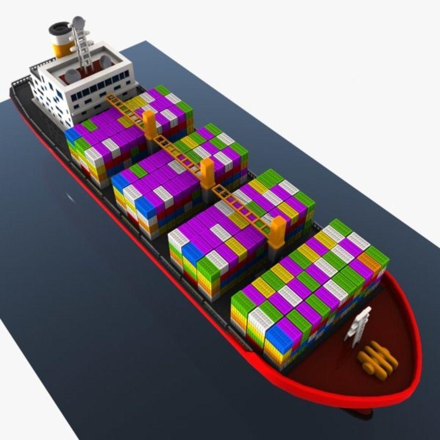Cartoon Cargo Ship royalty-free 3d model - Preview no. 7