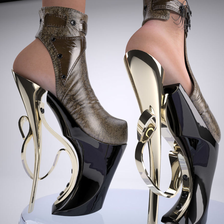 inferno high heels shoe royalty-free 3d model - Preview no. 9