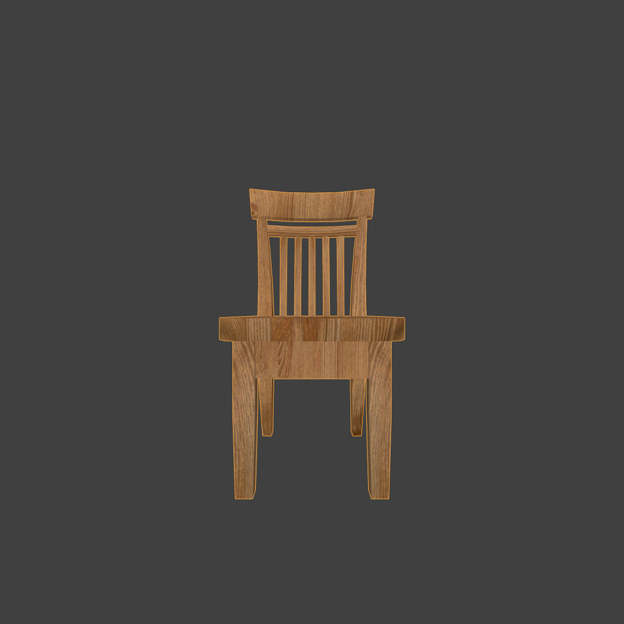 Wooden Chair Low Poly royalty-free 3d model - Preview no. 6