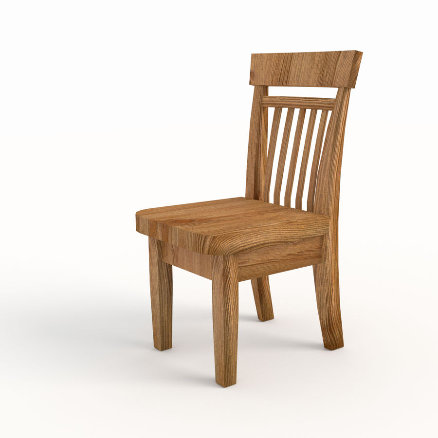 Wooden Chair Low Poly royalty-free 3d model - Preview no. 3