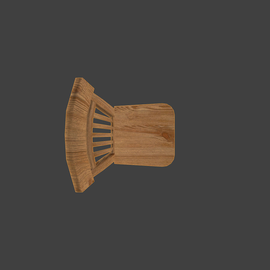 Wooden Chair Low Poly royalty-free 3d model - Preview no. 8