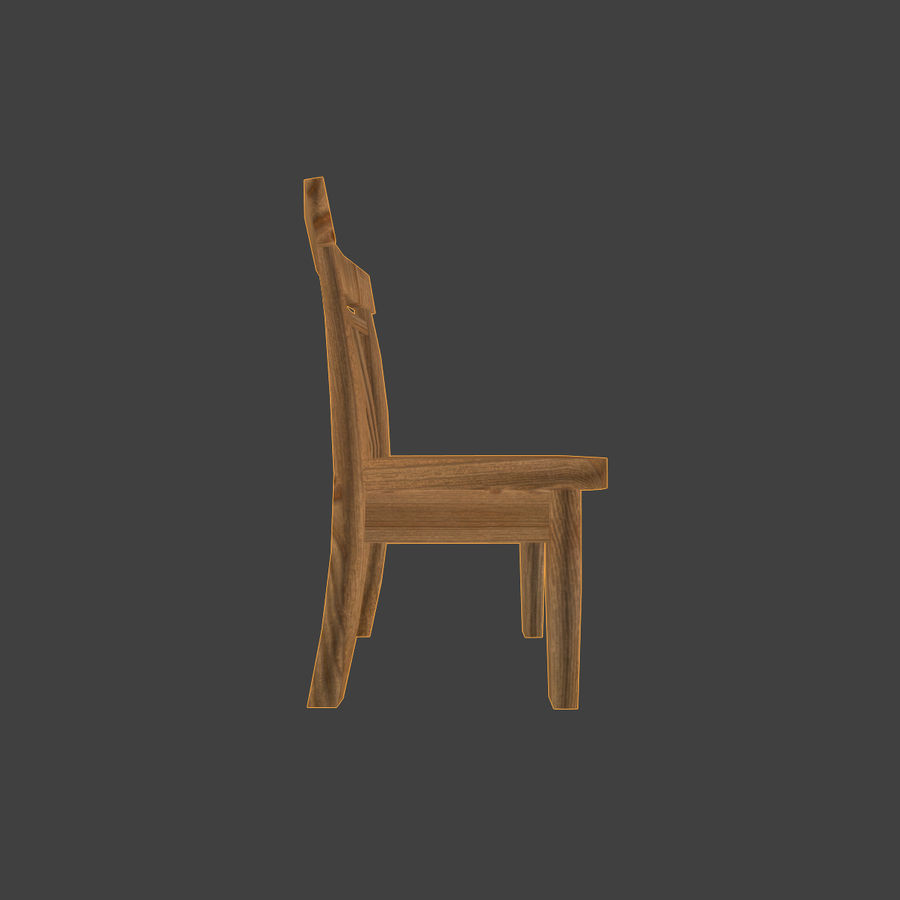 Wooden Chair Low Poly royalty-free 3d model - Preview no. 4