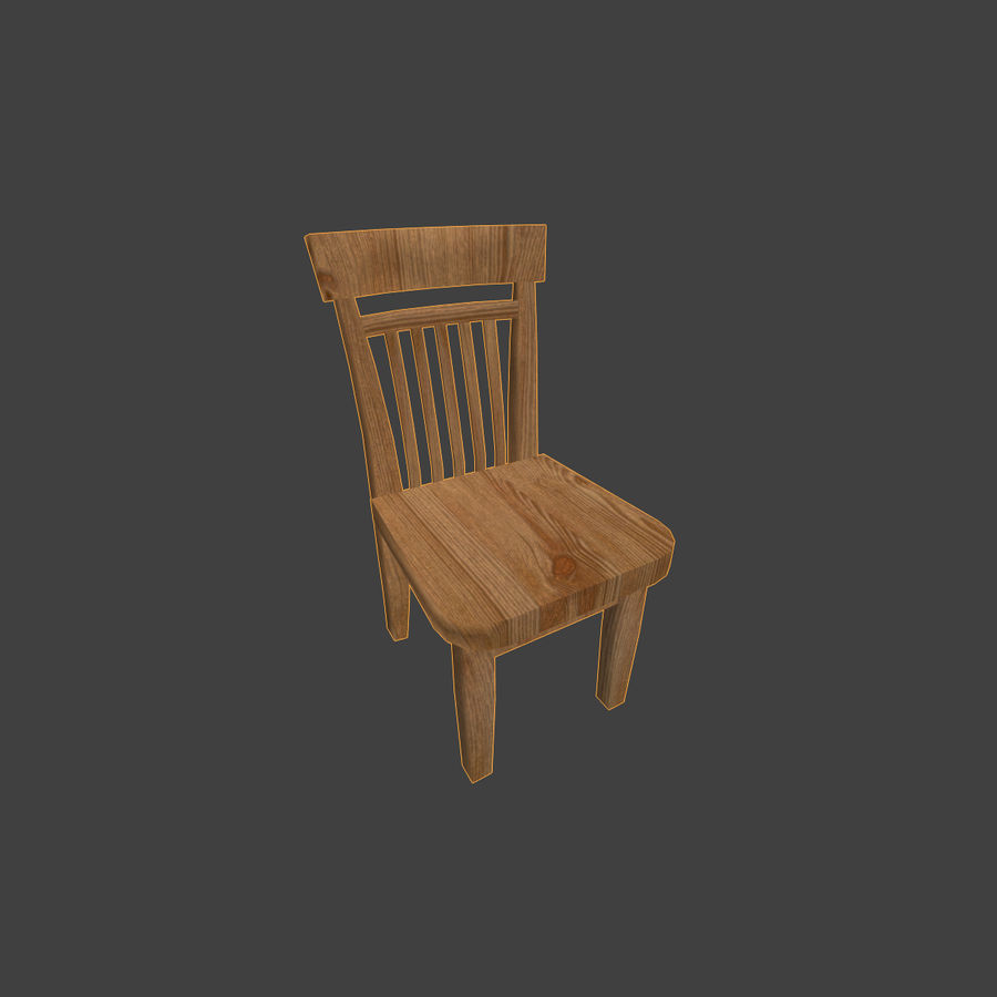 Wooden Chair Low Poly royalty-free 3d model - Preview no. 10
