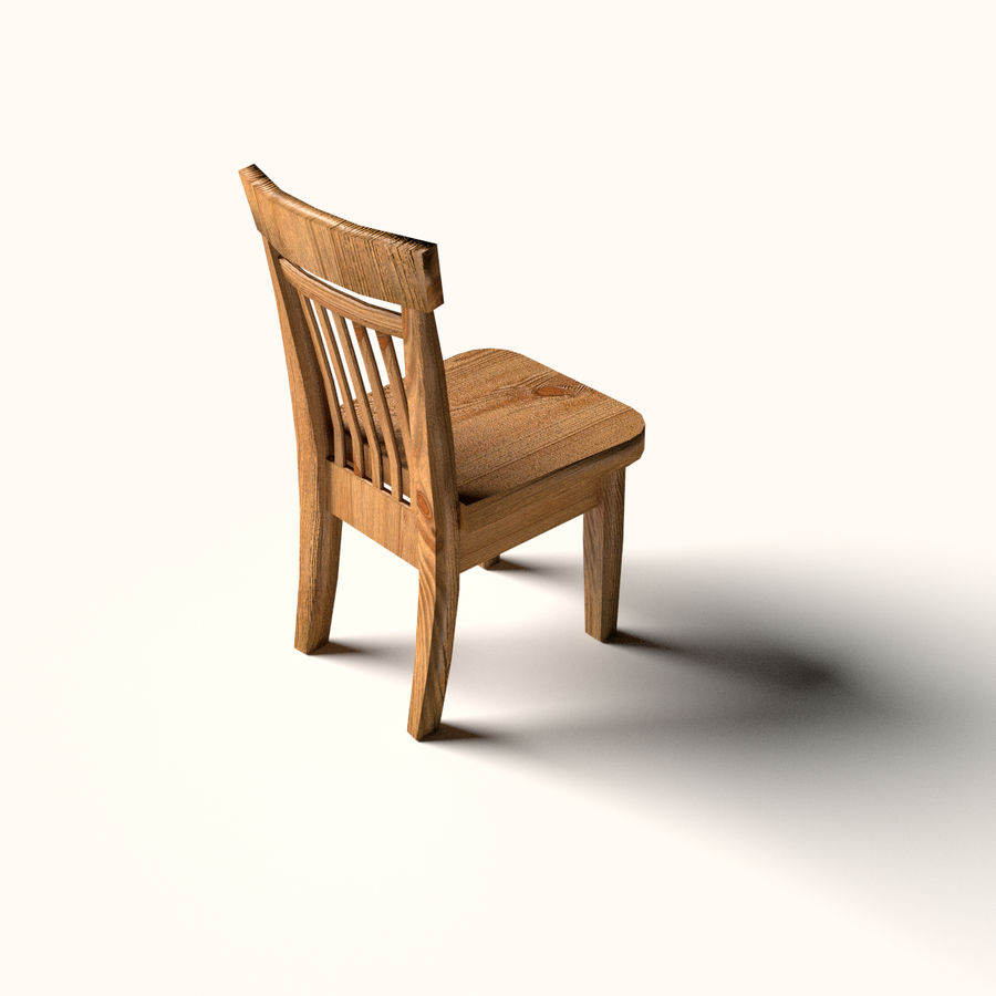 Wooden Chair Low Poly royalty-free 3d model - Preview no. 2
