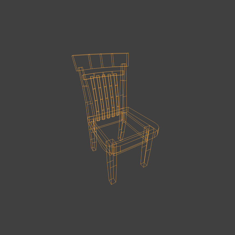 Wooden Chair Low Poly royalty-free 3d model - Preview no. 12