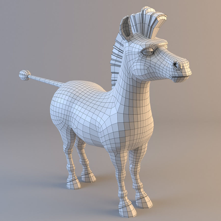 Cartoon Zebra royalty-free 3d model - Preview no. 6