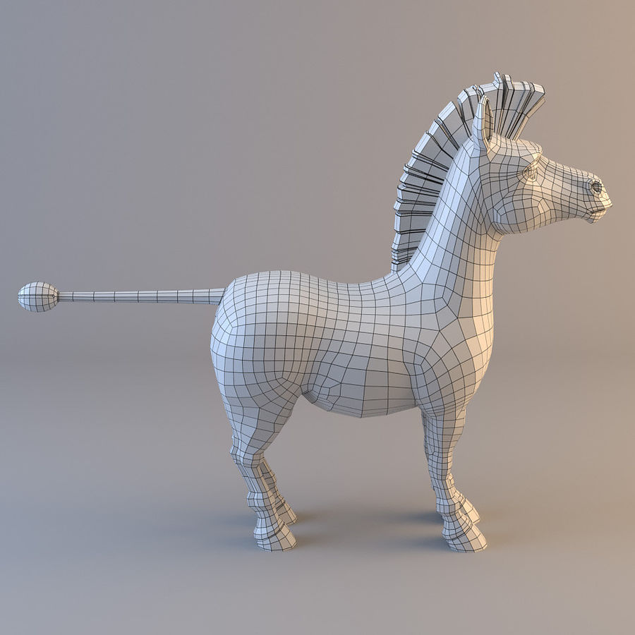 Cartoon Zebra royalty-free 3d model - Preview no. 7