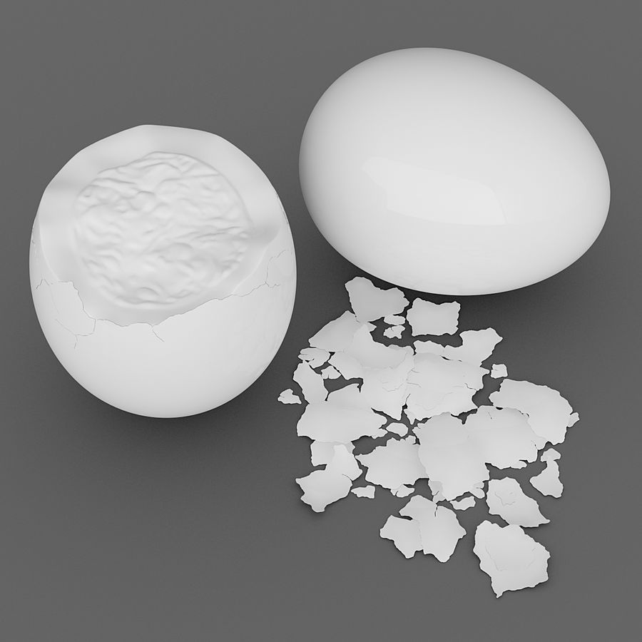 Boiled Eggs royalty-free 3d model - Preview no. 5