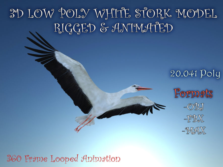 LOW POLY WHITE STORK 3D MODEL FULLY RIGGED & ANIMATED royalty-free 3d model - Preview no. 1