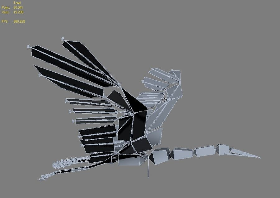 LOW POLY WHITE STORK 3D MODEL FULLY RIGGED & ANIMATED royalty-free 3d model - Preview no. 5