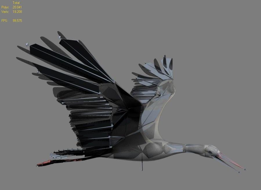 MODELLO BASSO POLY WHITE STORK 3D COMPLETAMENTE STAGIONATO E ANIMATO royalty-free 3d model - Preview no. 6