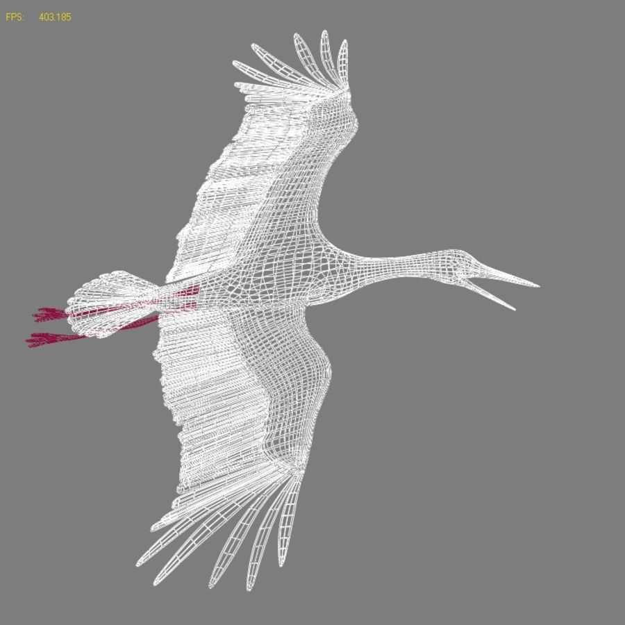 LOW POLY WHITE STORK 3D MODEL FULLY RIGGED & ANIMATED royalty-free 3d model - Preview no. 11