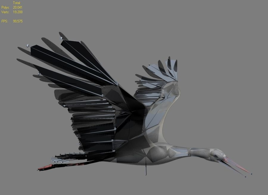 LOW POLY WHITE STORK 3D MODEL FULLY RIGGED & ANIMATED royalty-free 3d model - Preview no. 6
