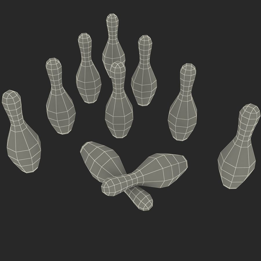 Bowling Pins royalty-free 3d model - Preview no. 20