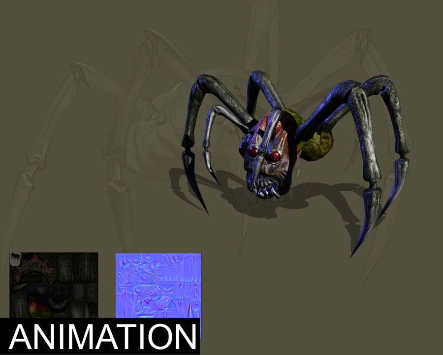 Monstr Spider royalty-free 3d model - Preview no. 2